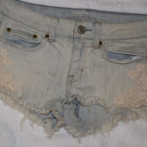 American eagle outfitters cut off jean shorts lace